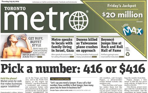 Snaging a 416 area code Toronto Toronto Savvy