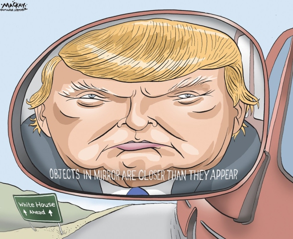 Editorial Cartoon by Graeme MacKay, The Hamilton Spectator - Wednesday February 10, 2016 Poll: Trump, Sanders lead ahead of New Hampshire's vote Donald Trump continues to lead the Republican race in New Hampshire on the eve of the vote, the final CNN/WMUR tracking poll finds. On the Democratic side of the race, it remains Bernie Sanders' primary to lose, with the Vermont senator holding a 26-point lead over Hillary Clinton. The field of candidates vying for a second place finish behind him is finally beginning to separate, according to the survey. Trump holds 31%, down two points from the February 3-6 release, but within the poll's margin of sampling error. READ: The full CNN/WMUR tracking poll results Behind him, Florida Sen. Marco Rubio earned 17% support -- within the margin of sampling error of Texas Sen. Ted Cruz at 14%, but significantly ahead of the fourth and fifth place candidates in the poll, Ohio Gov. John Kasich at 10% and former Florida Gov. Jeb Bush at 7%. Behind Bush, Carly Fiorina stands at 5%, New Jersey Gov. Chris Christie at 4% and retired neurosurgeon Ben Carson at 3%. Aside from Trump, none of the Republican candidates moved more than 1 point in either direction compared with the previous CNN/WMUR tracking poll. About three-quarters of the interviews conducted for this poll were completed before the Republican candidates debated Saturday night, their final such match-up before Tuesday's election. Although the post-debate sample size is too small to produce a separate estimate of the vote, interviews conducted Sunday and Monday found no drop in support for Rubio, and actually showed a slimmer margin between Trump and Rubio. There has been little movement in the last two days in the other metrics tested in the survey, with about two-thirds still saying they expect to see Trump win on Tuesday (64%), and about a third saying they would never vote for Trump (32%). (Source: CNN) http://www.cnn.com/2016/02/08/politics/donald-trump-bernie-sa