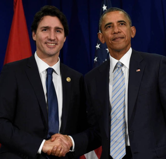 President Barack Obama, right, and Canada's Prime Minister Justin Trudeau, left, stand to shake hands following their bilateral meeting at the Asia-Pacific Economic Cooperation summit in Manila, Philippines, Thursday, Nov. 19, 2015. (AP Photo/Susan Walsh)