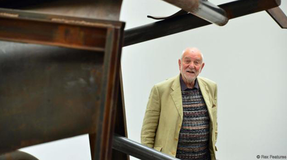 Mandatory Credit: Photo by Nils Jorgensen/REX Shutterstock (2478710e) Sir Anthony Caro with his sculpture 'Laughter and Crying', 2012 Sir Anthony Caro, Park Avenue Series press view, Gagosian Gallery, London, Britain - 06 Jun 2013 Internationally respected British abstract sculptor visits his exhibition ahead of the private view. The display presents new sculpture series of work which evolved while planning a large scale public sculpture for New York City